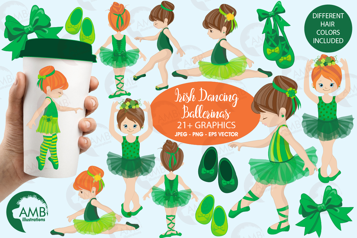 Irish dancers, Ballerina clipart, Ballet dancers in green, graphics and illustrations AMB-1588 example image 1