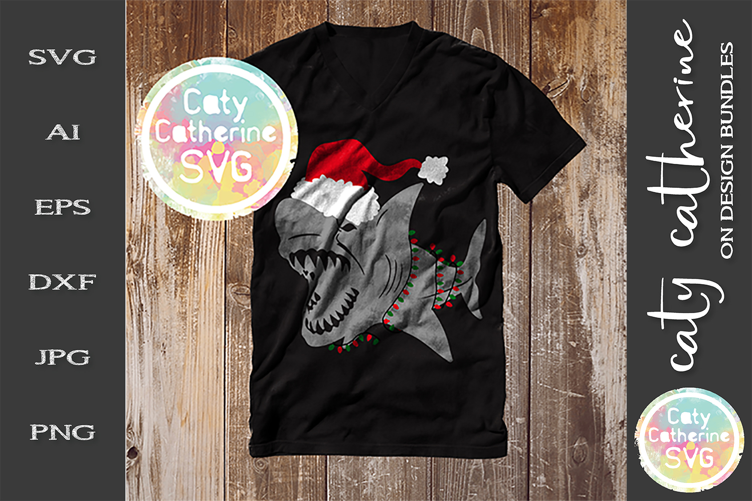 Shark Wearing Santa Hat & Fairy Lights SVG Cut File example image 1