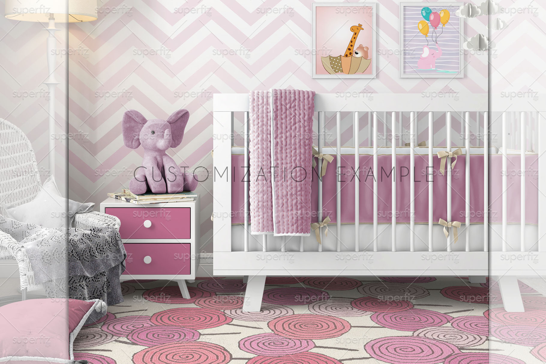 Wallpaper, floor, carpet and frame Mockup Baby Bedroom SM60 example image 5