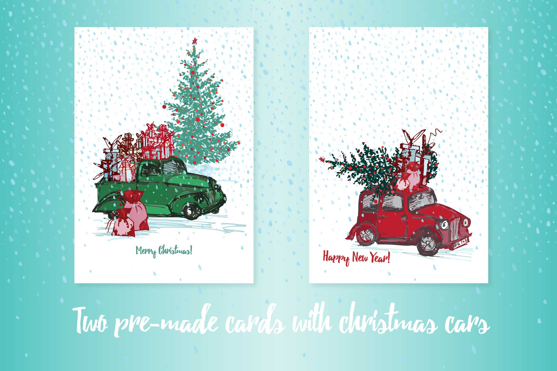 Hand drawn sketch Christmas tree and holiday cars example image 4