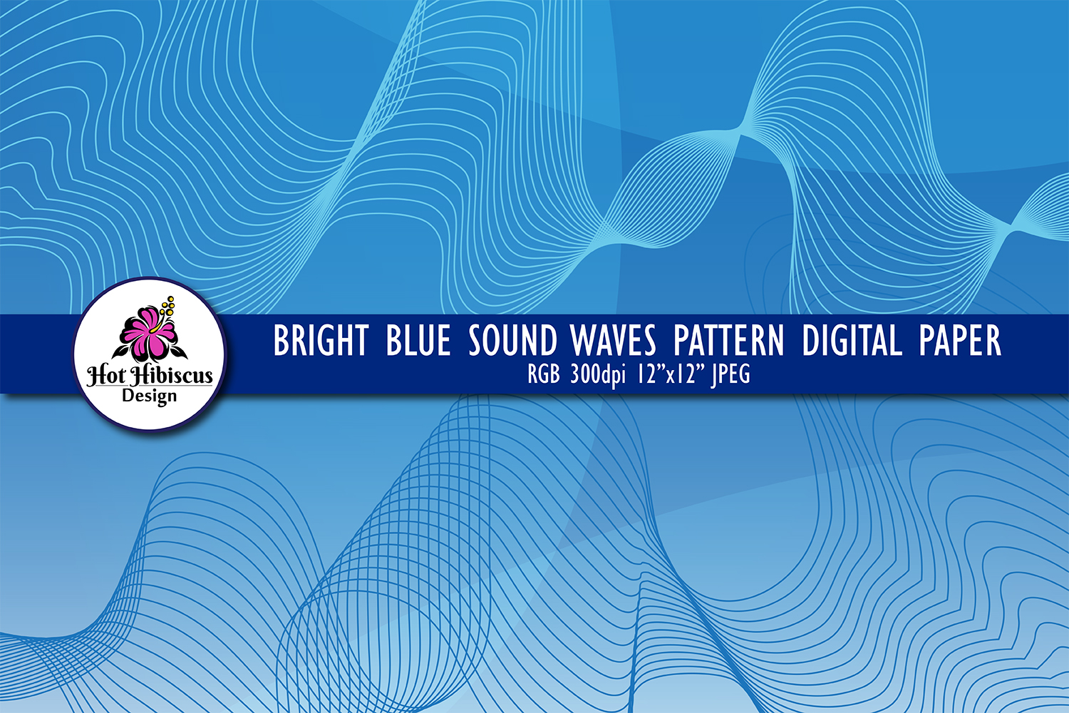 Blue Sound Waves Modern Abstract Background Digital Paper example image 1