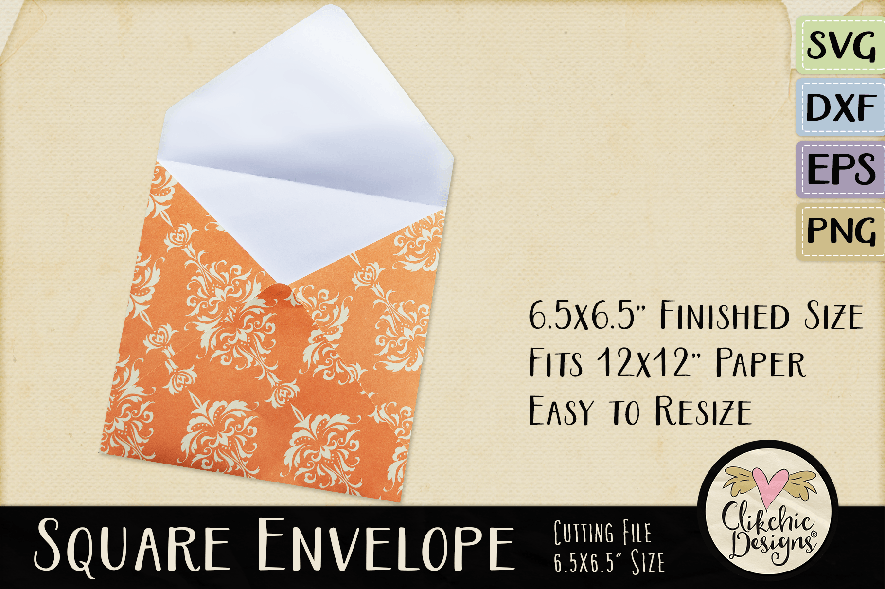 Square Envelope SVG - Square Envelope Cutting File Template example image 2