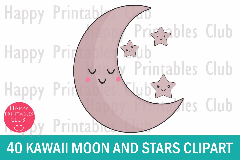 40 Kawaii Moon Stars Clipart- Kawaii Crescent Moon Clipart example image 2