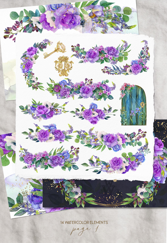 Watercolor purple bouquets clipart wedding arrangement example image 2