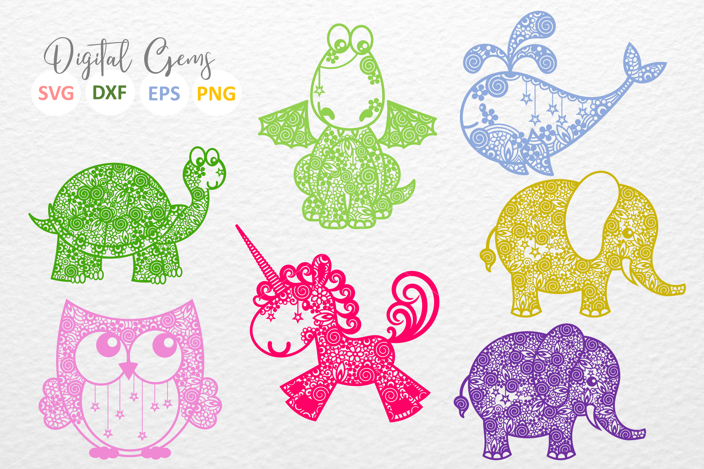 The Doodle Animal Bundle SVG / DXF / EPS files example image 2