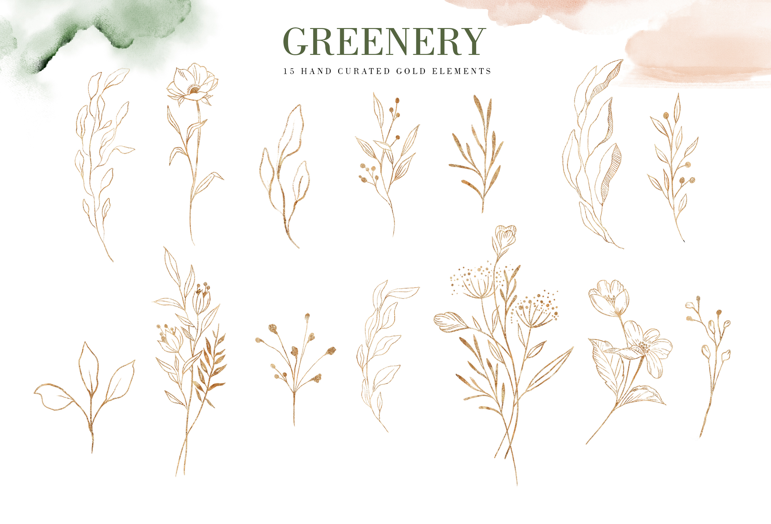 Greenery. Watercolor Elements| Letters gold with flowers example image 6