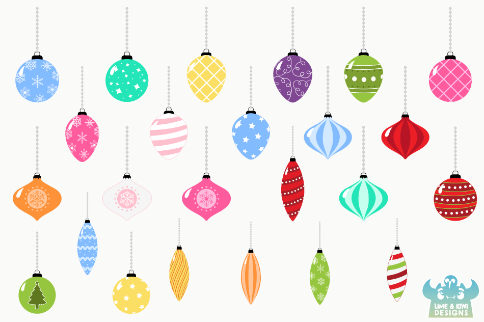 Christmas Ornaments Clipart, Instant Download Vector Art example image 2