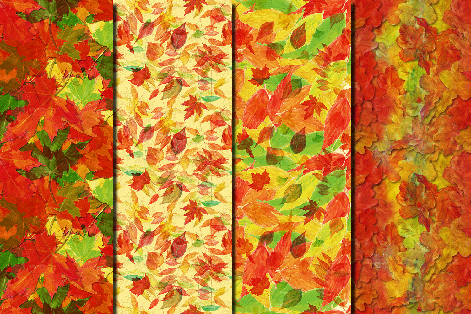 Autumn/ Fall Leaves seamless digital paper pack example image 4