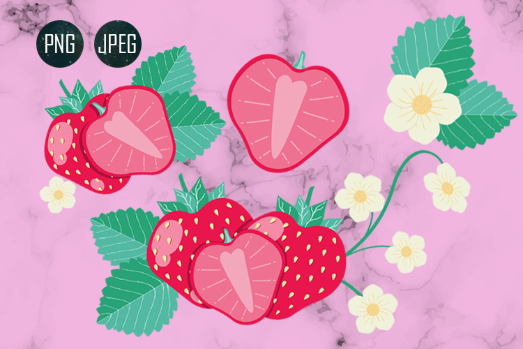 STRAWBERRY SET CLIPART JPEG PNG example image 3