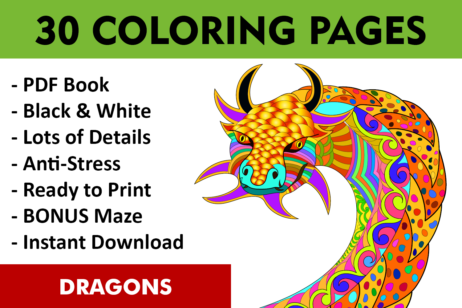 30 Dragons Adult Coloring Pages Instant Download, Coloring Book for Adults example image 1