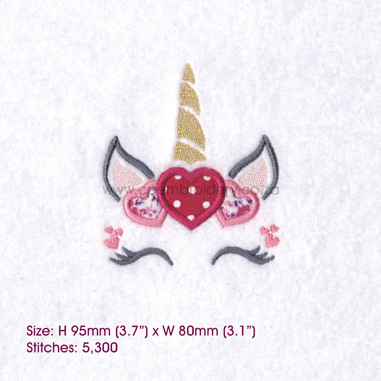 Hearts Unicorn Head Applique Embroidery Design example image 4