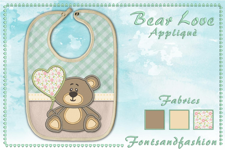 Bear Love_Appliquè example image 4
