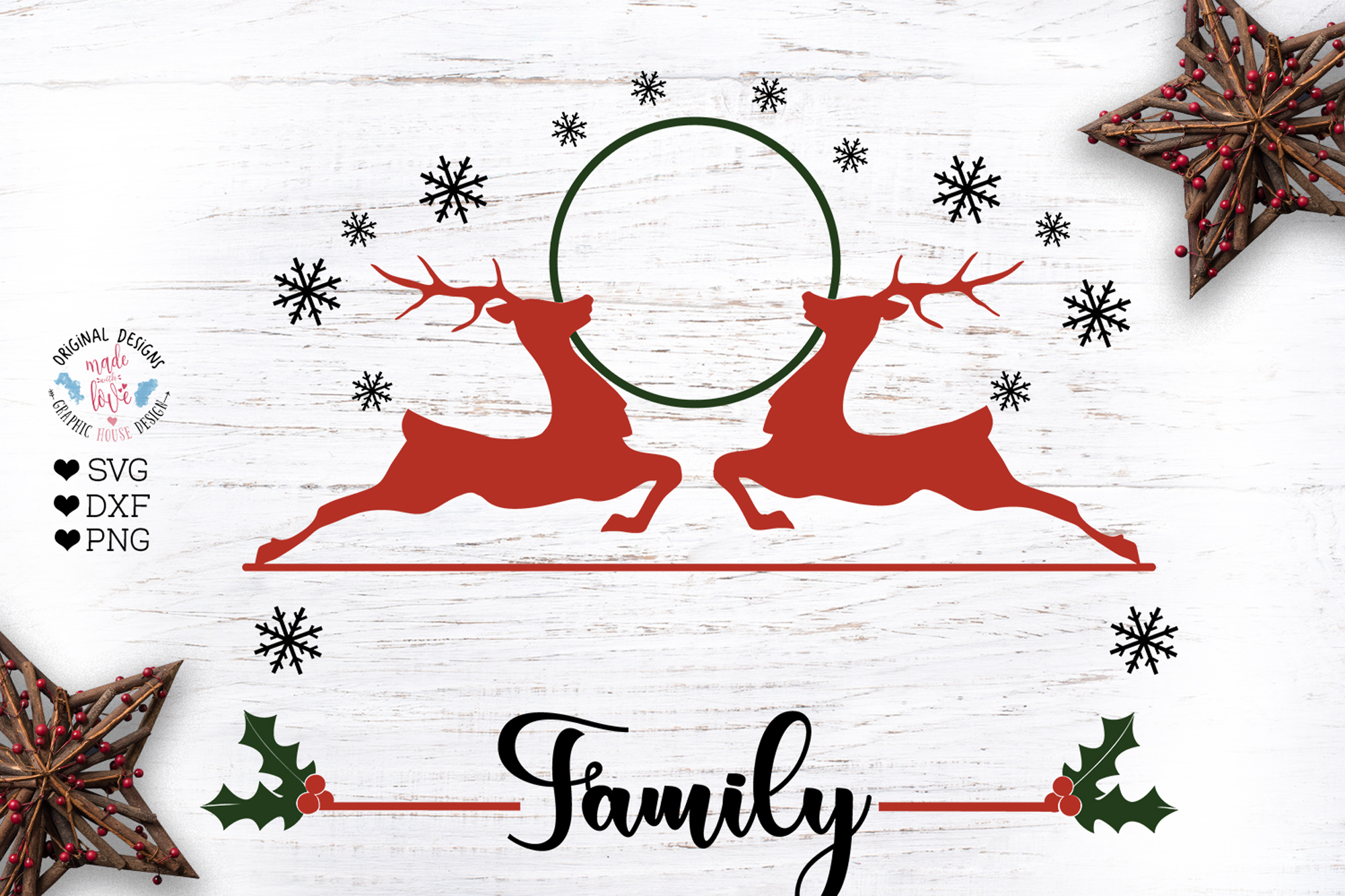 Christmas Family Last Name Frame example image 1