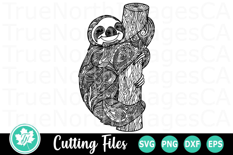 Zentangle Sloth - A Christmas SVG Cut File example image 1