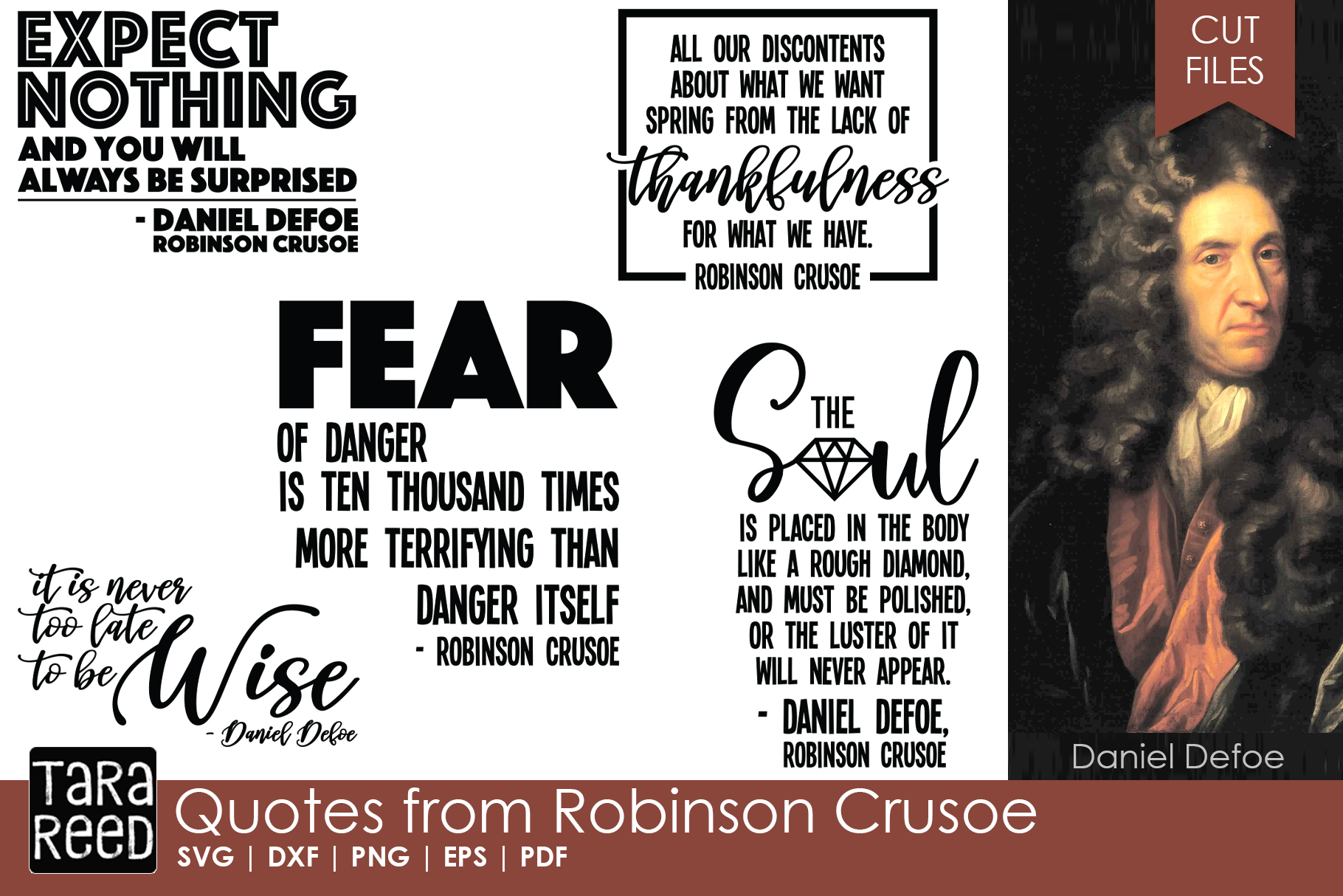 Quotes from Robinson Crusoe - SVG and Cut Files for Crafters example image 1