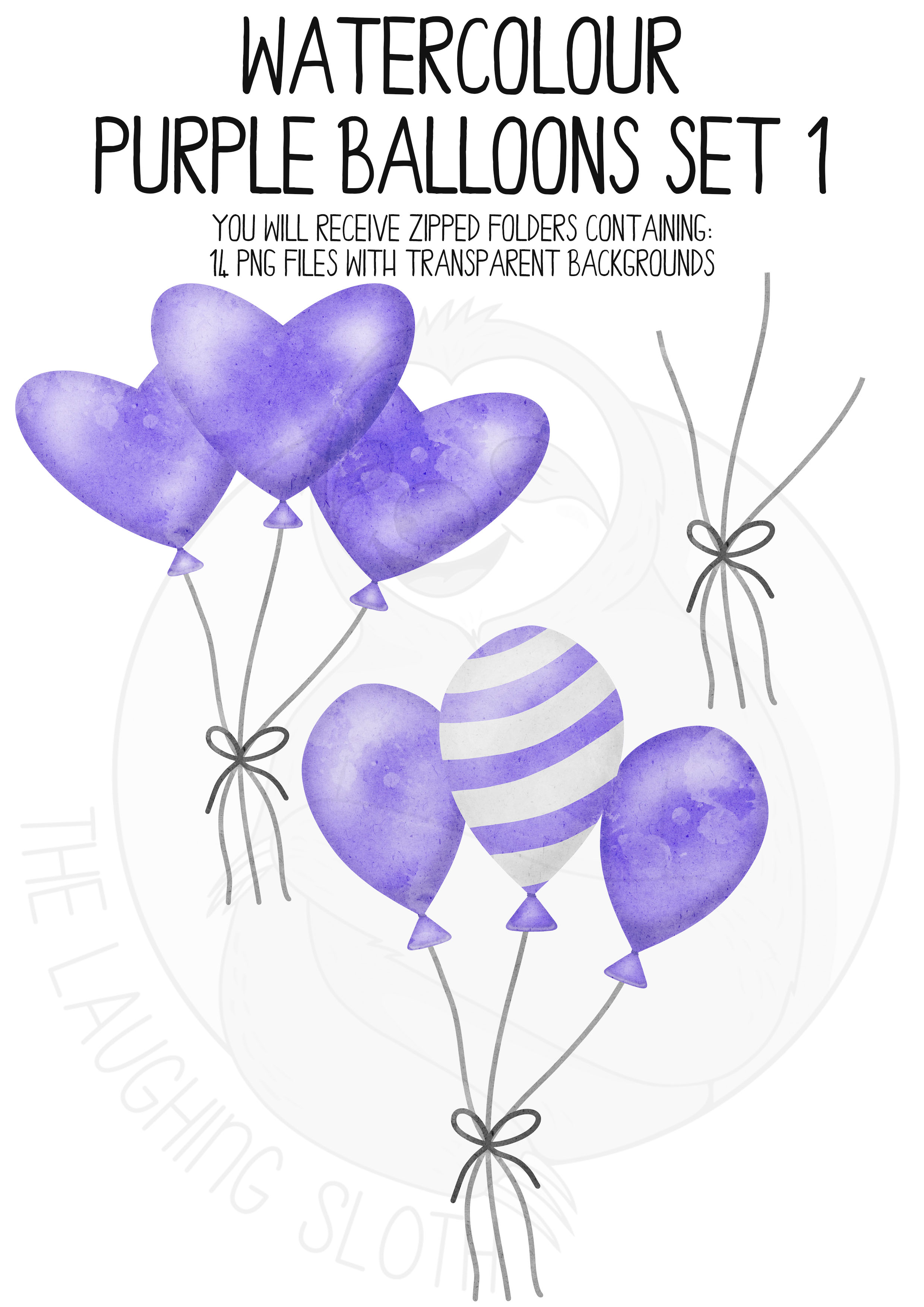 Purple Watercolor Balloon Clipart Set example image 5