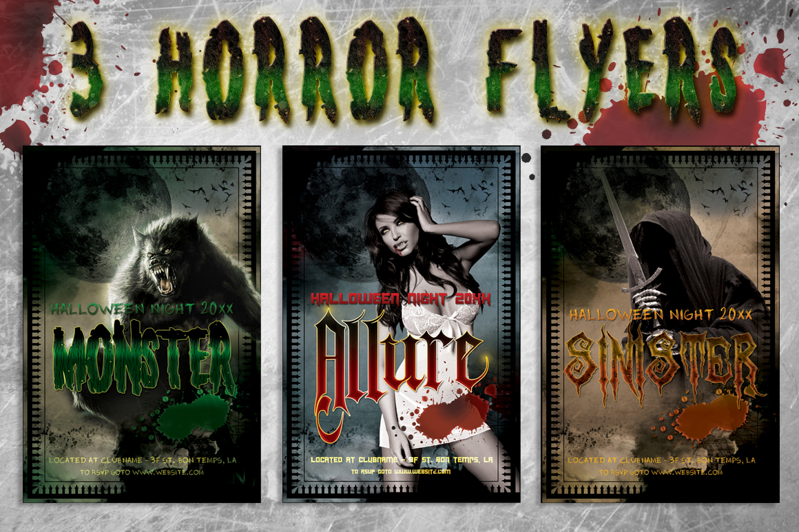 3 Halloween Horror Flyer Bundle example image 1