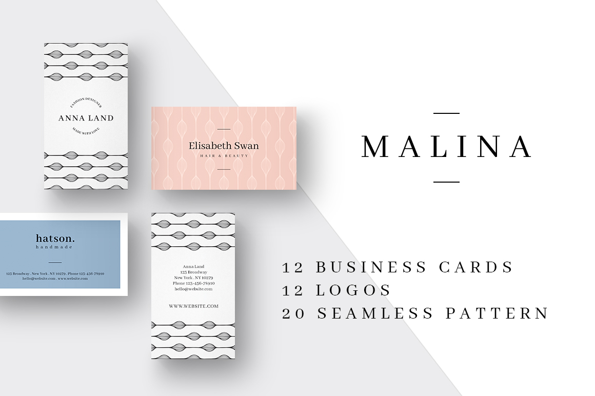 MALINA Business Cards + Logos + Pattern example image 1