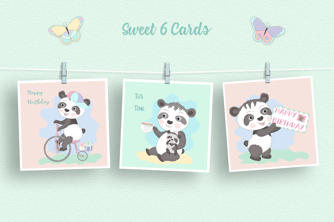 Panda Party Illustration Set example image 3