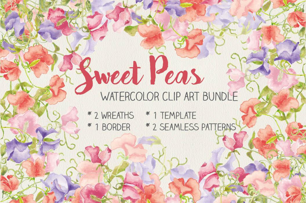 Watercolor clip art bundle: Sweet Peas example image 1