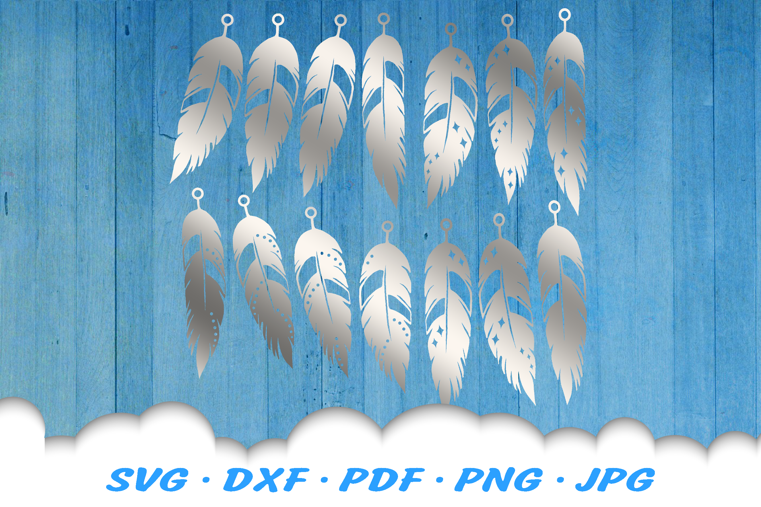 Feather Earring Template SVG DXF Cut Files example image 1