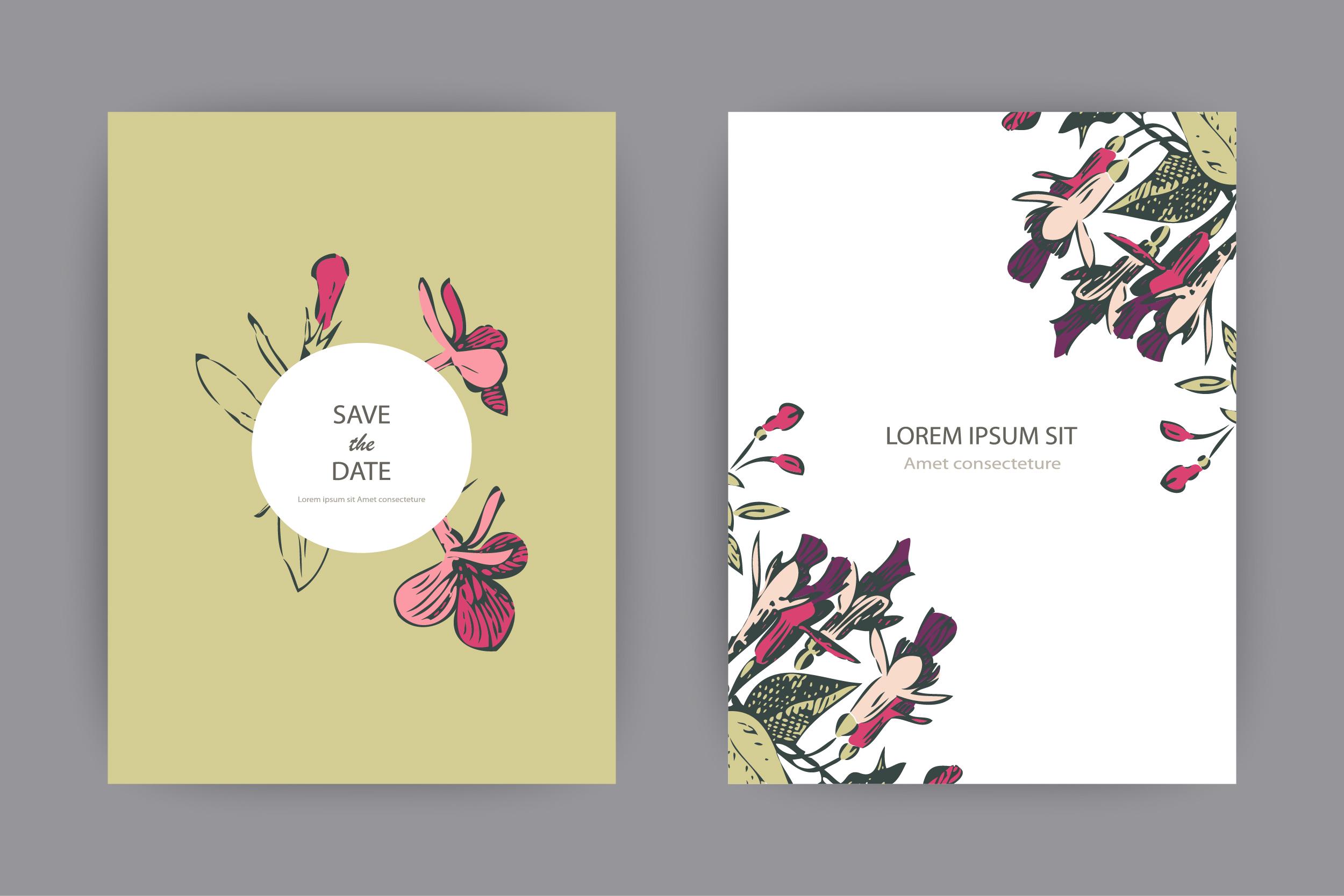 Fuchsia flowers templates for card, invitation, wedding example image 1