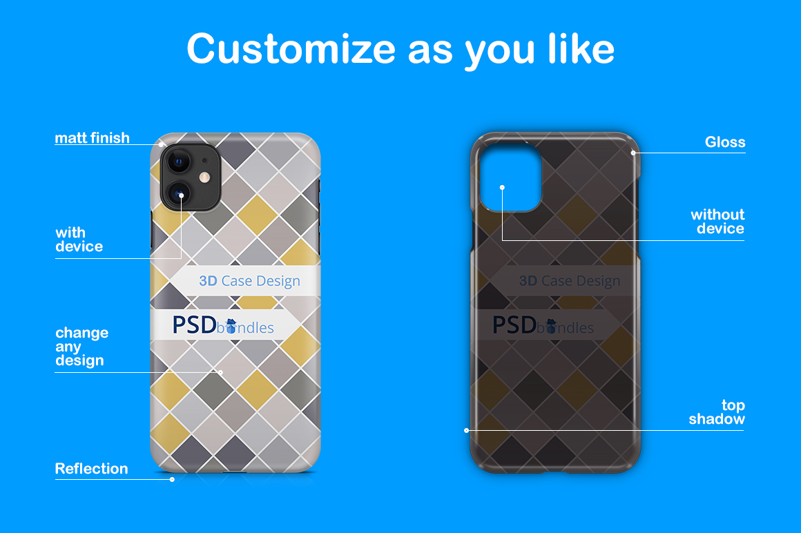 Apple iPhone11 3d Phone Case Mock-up example image 3