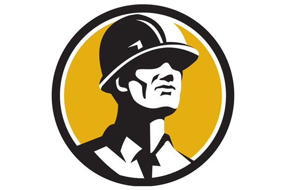Builder Hardhat Looking Forward Circle Retro example image 1