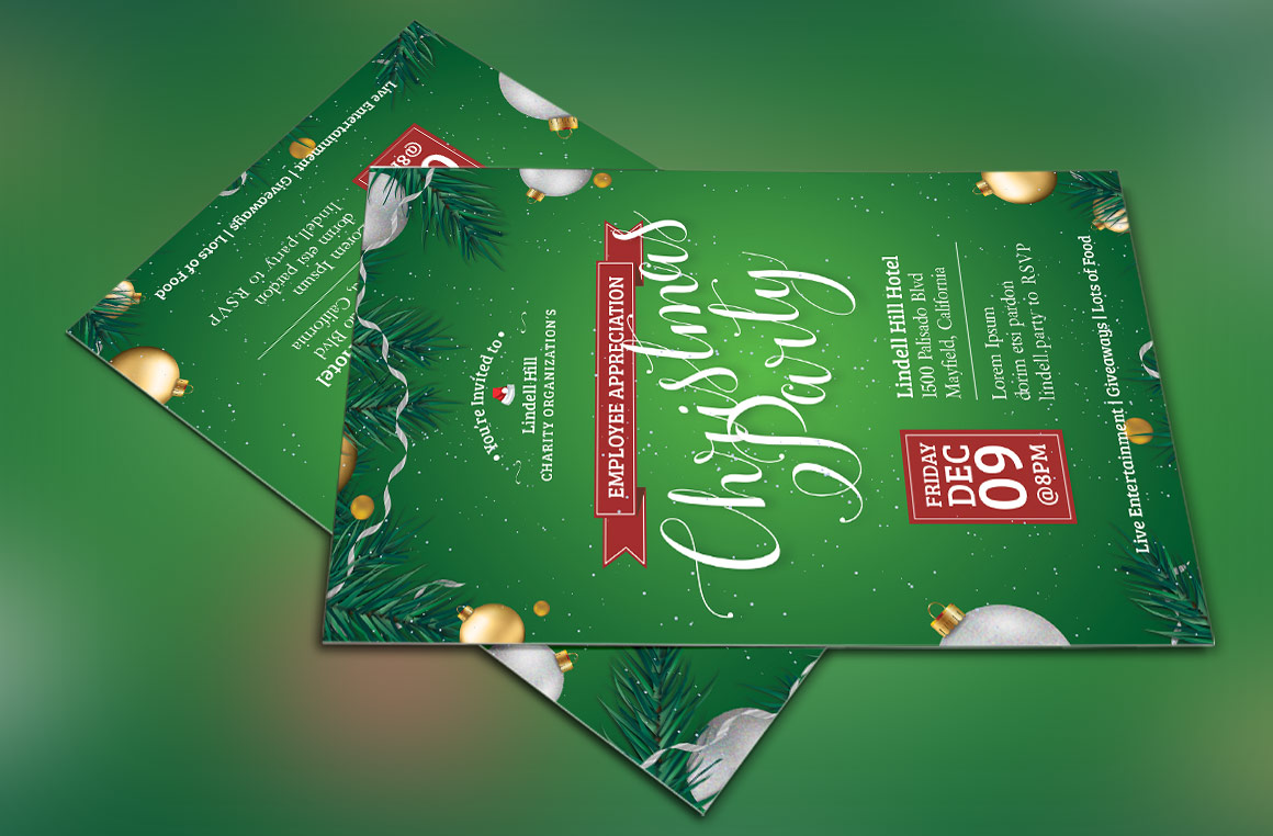 Green Christmas Party Flyer Template example image 4