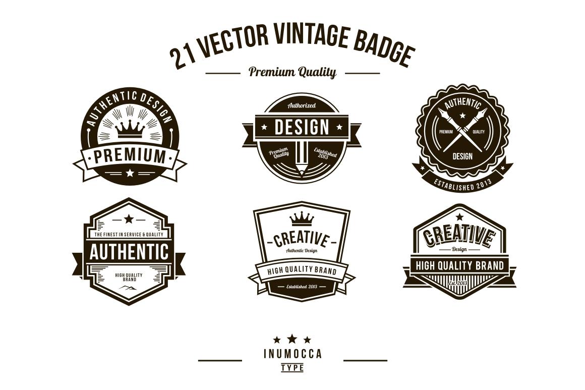 21 Vintage Badges (CLEAR & CRACK) example image 4