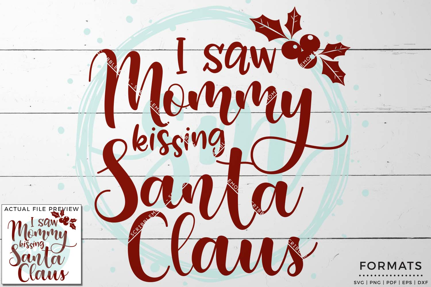 Mommy Kissing Santa Claus SVG example image 1