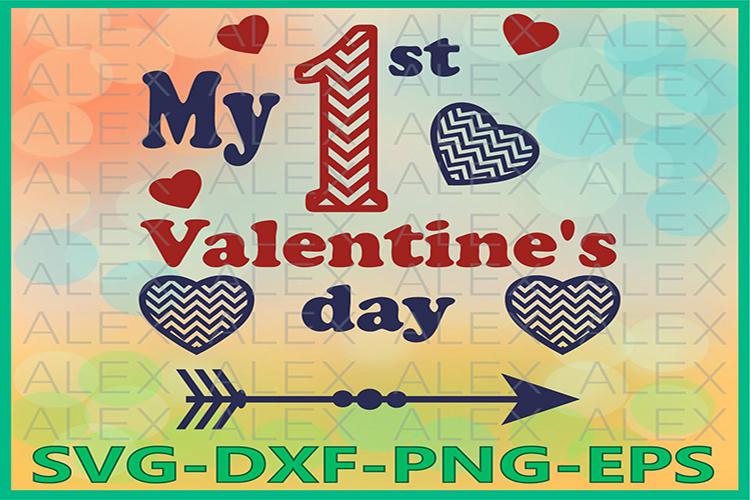 Valentine's Day SVG, 1st Valentines Day svg, Valentines Day example image 1