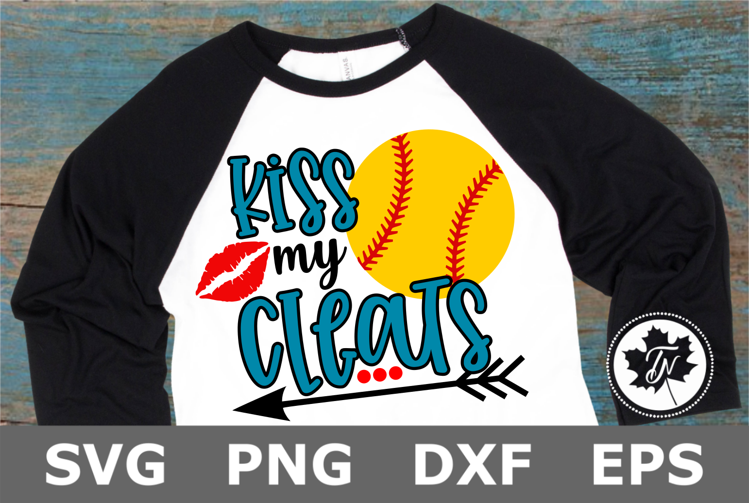 Kiss My Cleats Softball- A Sports SVG Cut File example image 1