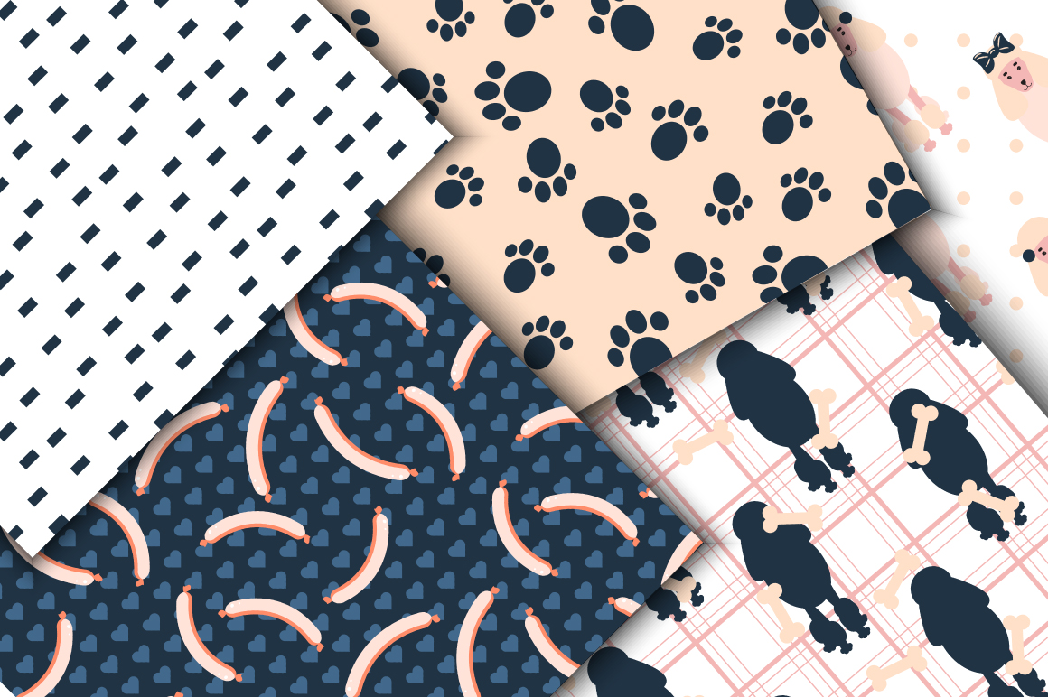 Mischievous Dogs seamless patterns example image 5