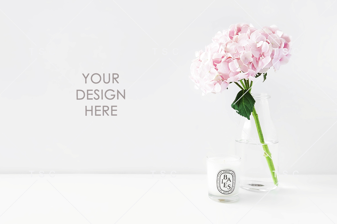 Pink Hydrangea and Candle Stock Photo example image 1