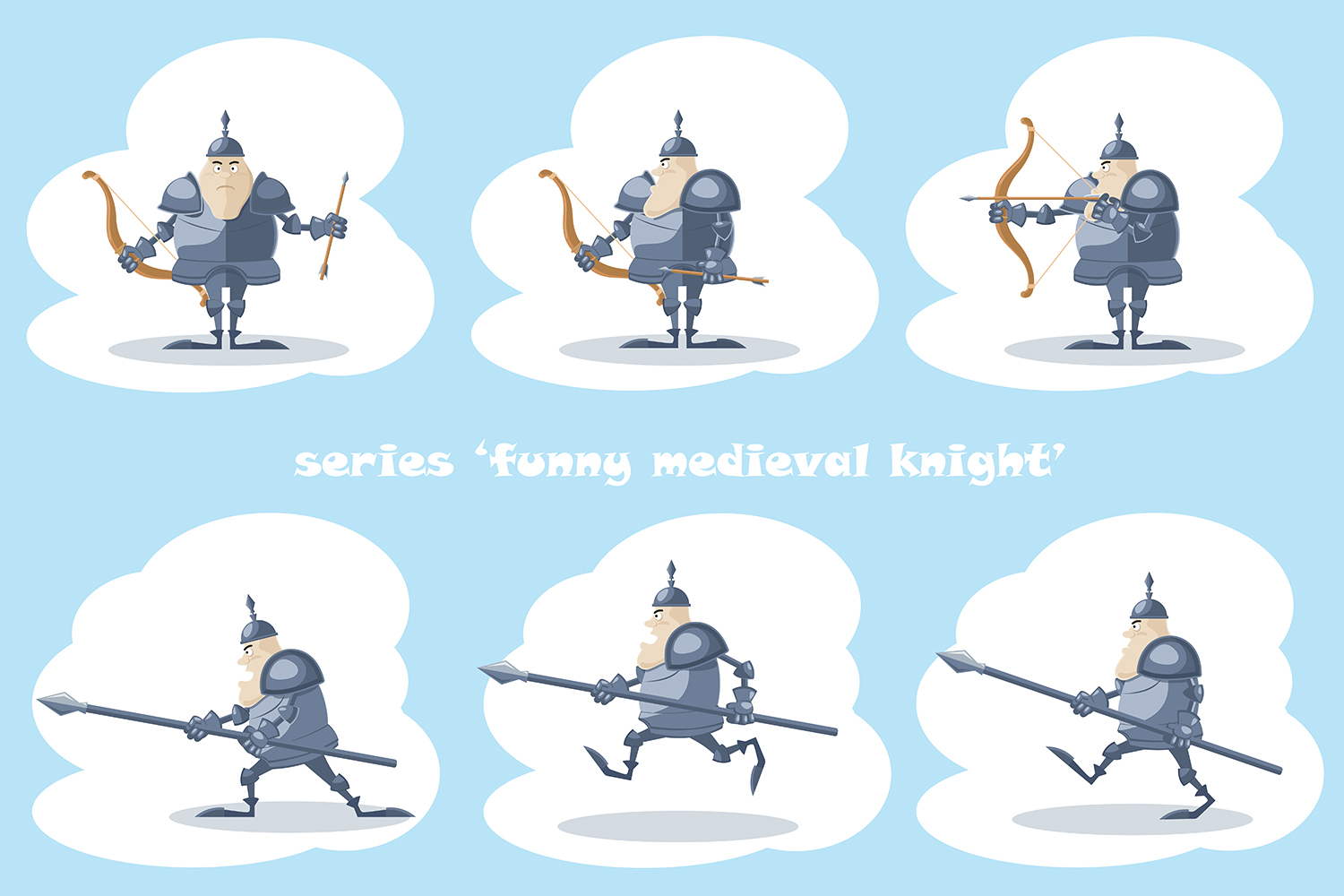 Set of 10 figure funny medieval knight or soldier. Vector illustration example image 1