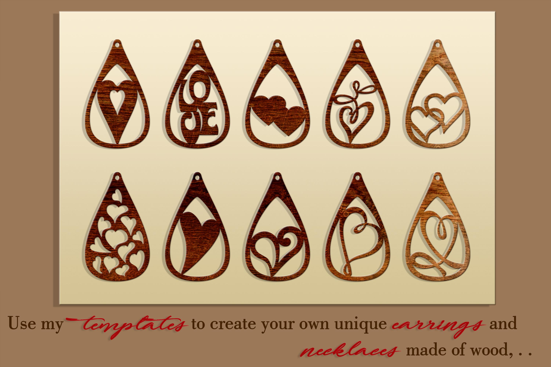 10 Leather earring bundle svg Teardrop earring Necklace example image 2