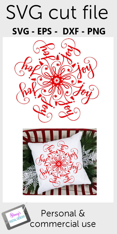 Mandala SVG - Joy mandala svg - Christmas SVG example image 3