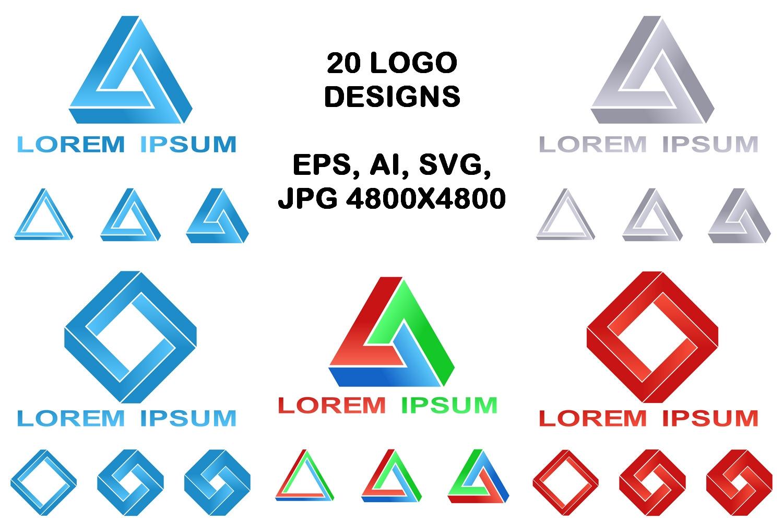 20 impossible polygon logo designs (EPS, AI, SVG, JPG 4800x4800) example image 1