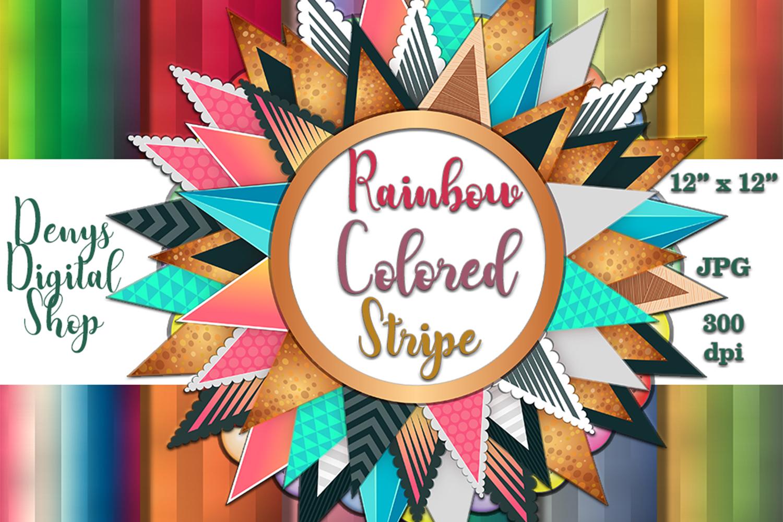 Rainbow Colored Stripe, Digital Scrapbook Paper,BLACK FRIDAY example image 1