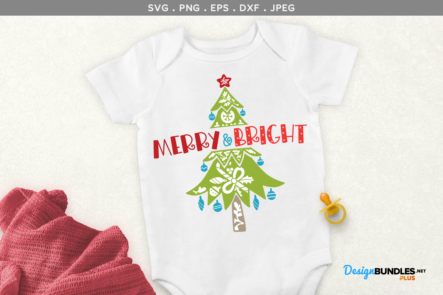 Merry & Bright - svg, printable example image 1