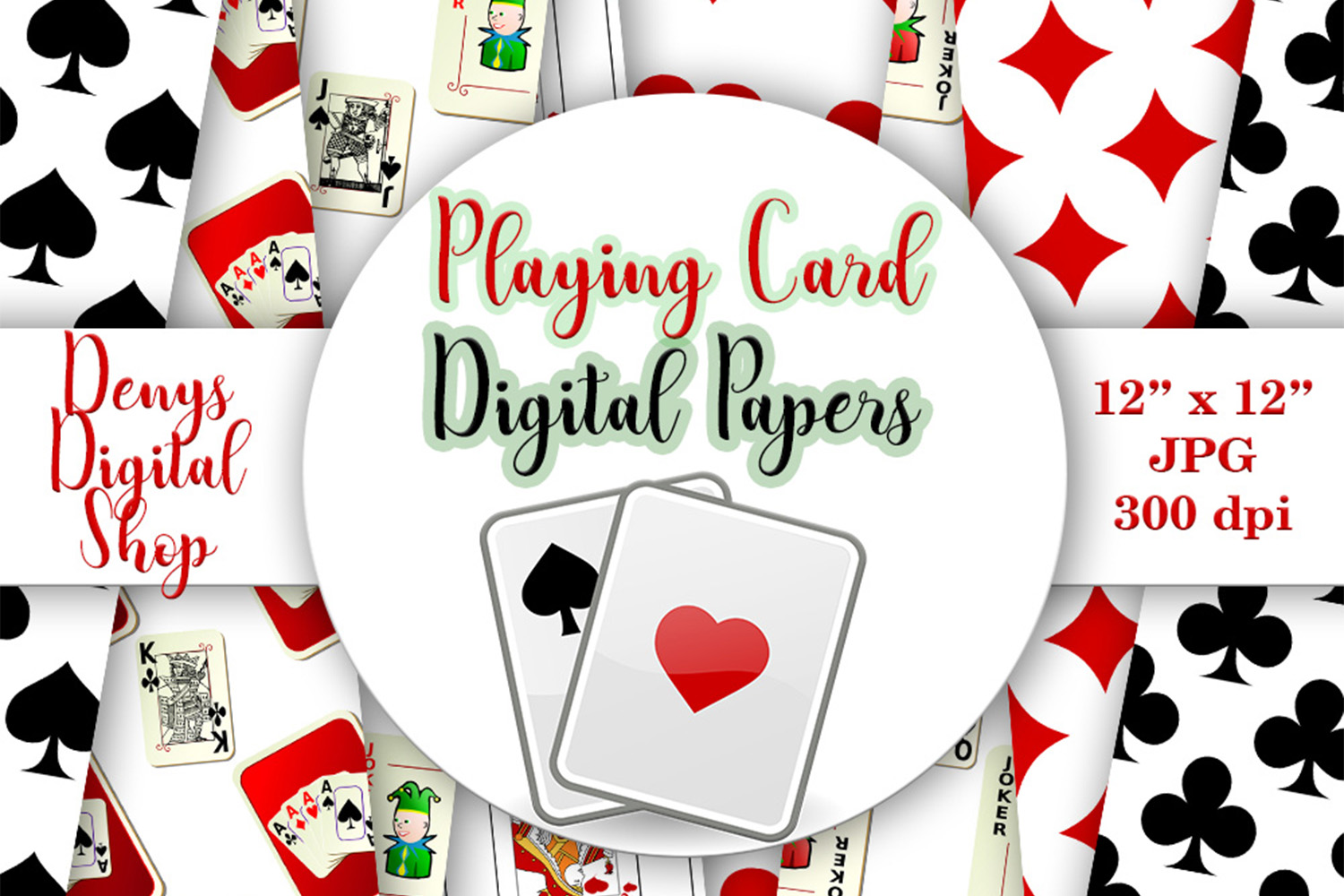 Playing Card Suits - Digital Wall,Playing Card Pattern, SALE example image 1