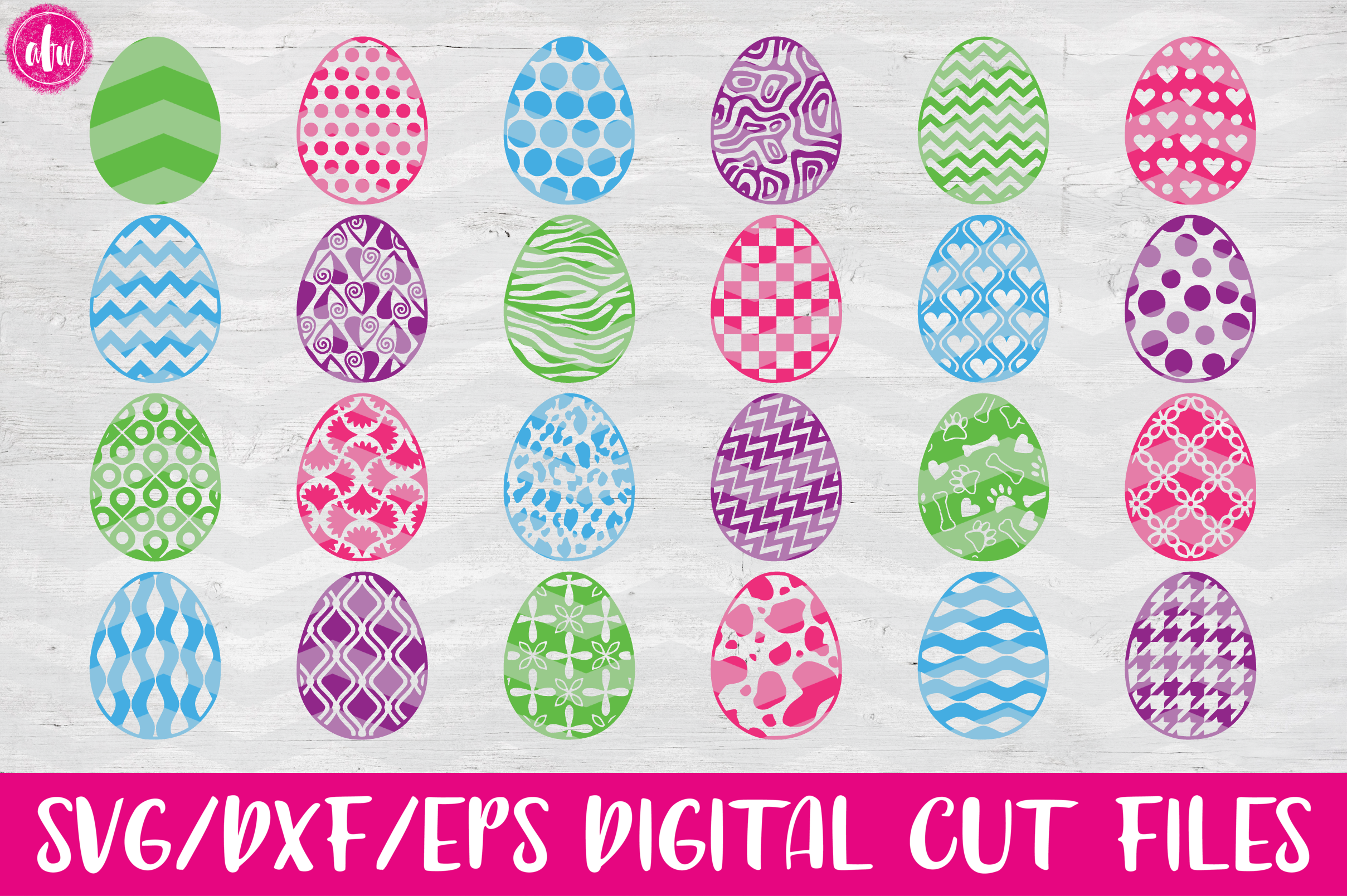 Pattern Easter Eggs Set of 40 - SVG, DXF, EPS Cut Files example image 1