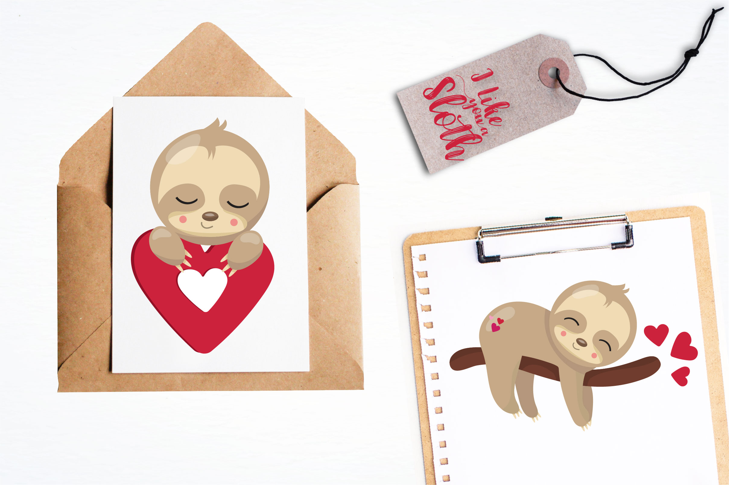 Valentine sloths graphics and illustrations example image 4