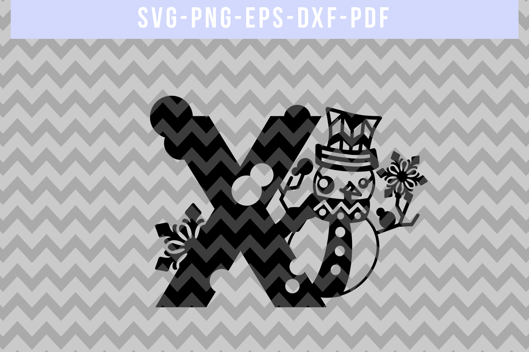 Snowman Font X Paper Cut Template, Winter Cutting SVG, DXF example image 3