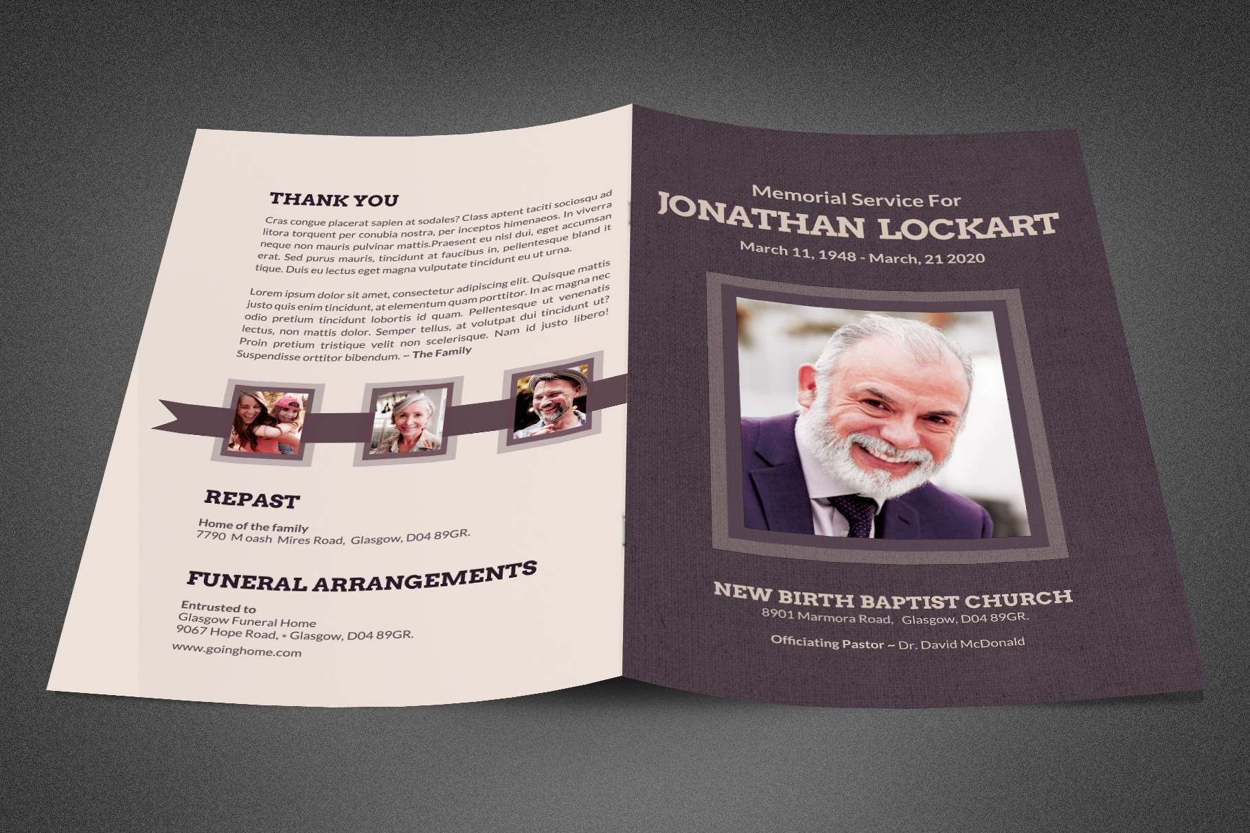 Tuscan Funeral Program Template example image 2