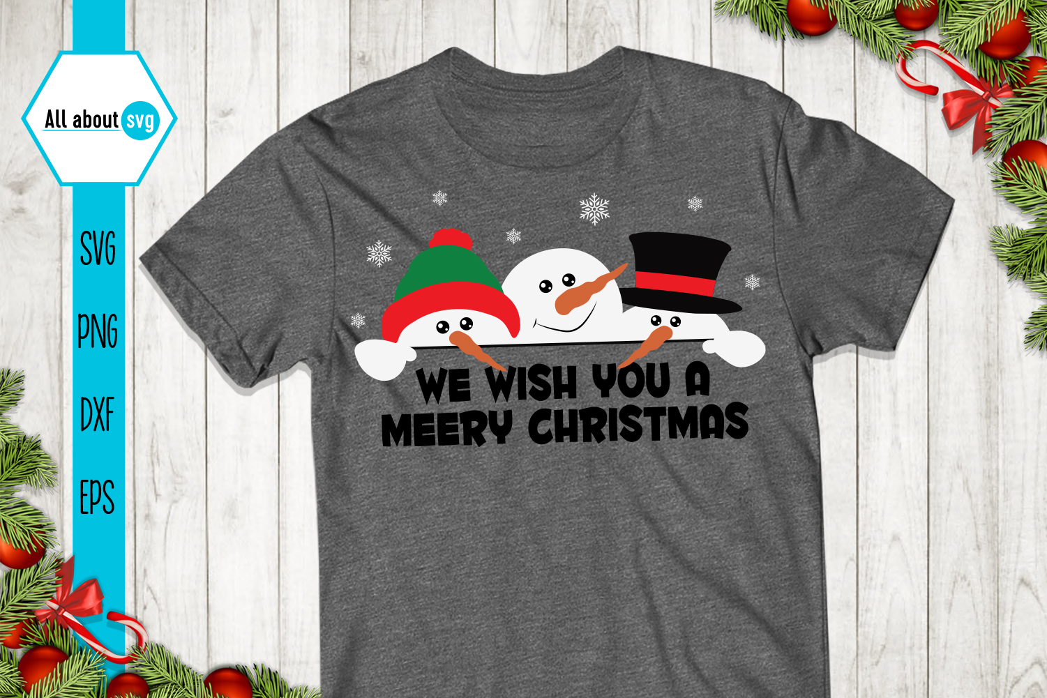 Snowman Svg, We wish You a Merry Christmas Svg example image 2