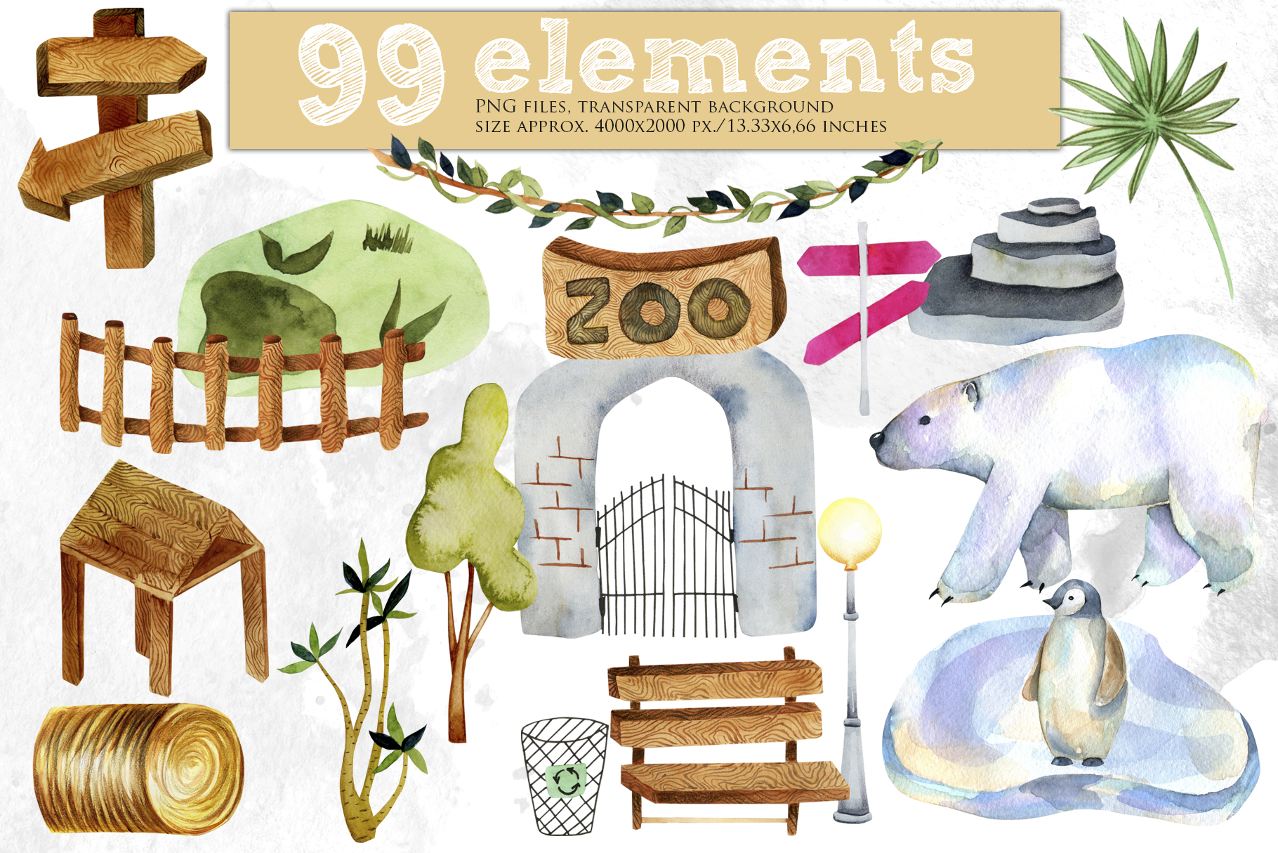 Zoo. Big watercolor collection. example image 6