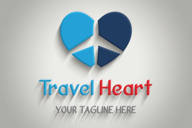 Aeroplane Heart Shape Logo example image 3