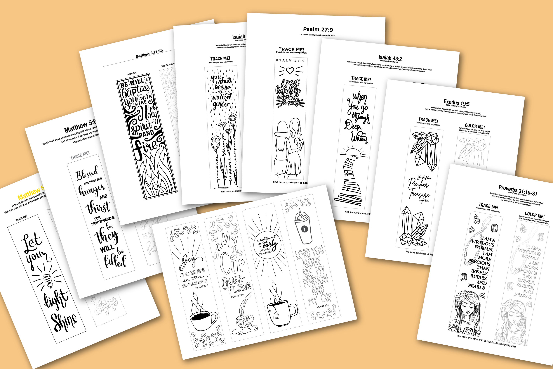 Bible Journaling Coloring Template - MEGA BUNDLE 12 Designs example image 5